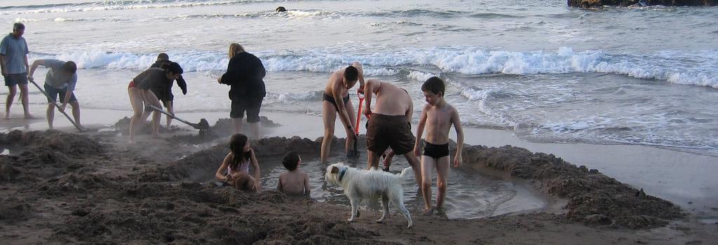Playa de agua caliente en Nueva Zelanda